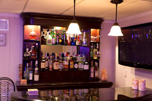 A basement bar installed in a finished basement in Lynn