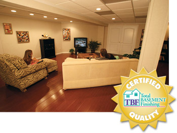 A remodeled basement with the Total Basement Finishing™ badge in Massachusetts and New Hampshire