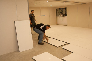 Installing insulated subfloor panels in