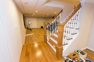 Finishing touches for a remodeled basement in Lynn